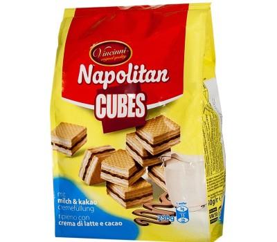 Napolitan Cube Wafers Milk & Cocoa Vincinni 250g