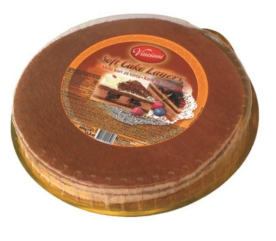 Round Soft Cake Layer Pre-Baked Dark with Cacao Vincinni 400g / 14oz